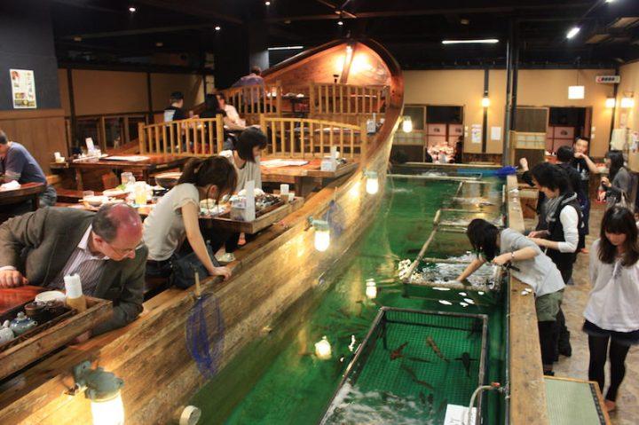 memancing di restoran Zauo jepang