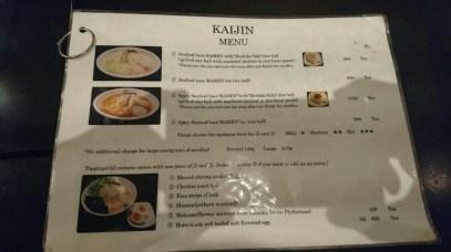 menu Kaijin Ramen, Shinjuku